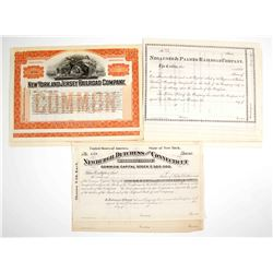 2 Different New York Stock Certificates and 1 from Michigan
