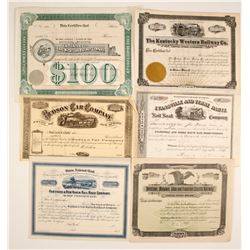 6 Different Varieties of Railroad Stock Certificates:  IN, NY, NJ, KY, MI