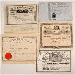 A Variety of 5 Stock Certificates from the U.S.