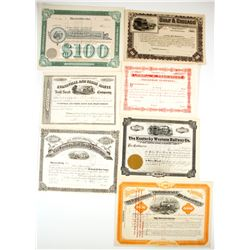 A Variety of 6 U.S. Stock Certificates & 1 Bond Certificate