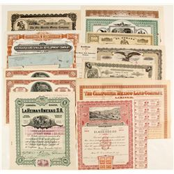 A variety of Mexican, AZ, CA, Columbia, Patino Mines Stock/Bonds Certificates