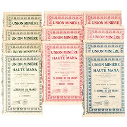 A Variety of Union Miniere de la Haute Mana Bond Certificates