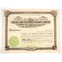 Arizona and California Railway Company Stock Certificate