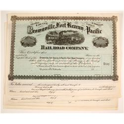 Brownville, Fort Kearny and Pacific Railroad Company Stock Certificates