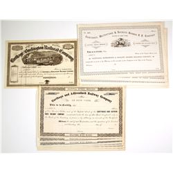 Carthage Railroad Companies Stock Certificates, Three Different