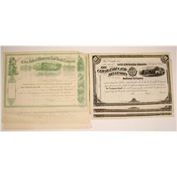 Cedar Falls and Minnesota Railroad Company Stock Certificates, 2 Varieties