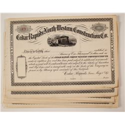 Cedar Rapids North Western Construction Company Stock Certificates