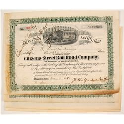 Citizens Street Rail Road Company Stock Certificate