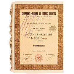 Compagne Minier Du Maroc Oriental (Mining Company Bond Certificate)