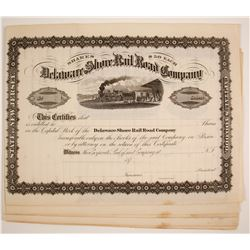 Delaware Shore Rail Road Company Stock Certificates