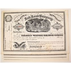 Fair Haven and Westville Railroad Company Stock Certificates