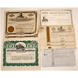 Five Different Railroad Stock Certificates from:  NY, KS, OH, AL & AR