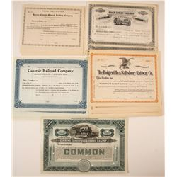 Five Different Stock Certificates from:  N.Y., IL, and Massachusetts