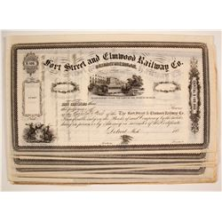 Fort Street and Elmwood Railway Company Stock Certificates