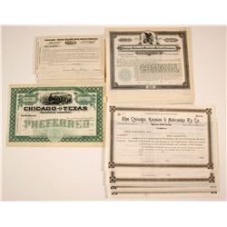 Four Different Chicago Rail Road Stock Certificates