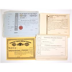 Four different North East Rail Road Companies Stock Certificates