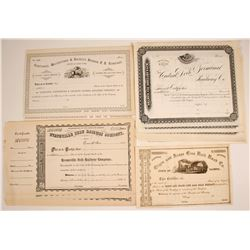 Four Different Railroad Company Stock Certificates:  NY, IL, IN