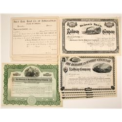 Four Different U.S. Stock Certificates:  OH, N.J., IN