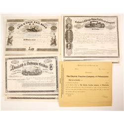 Four Different US Stock Certificates out of:  PA, OH, NY and IA