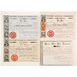 Four Different Western Railroad Corporation Stock Certificates