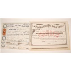Framingham and Lowell RailRoad Stock Certificates, 2 Varieties