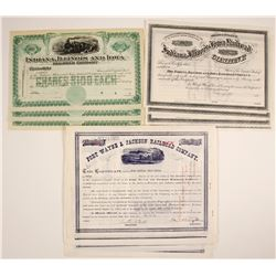 Indiana Rail Road Company Stock Certificates, Three Different