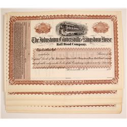 Johnstown, Gloverville and Kingsboro Horse Rail Road Company Stock Certificates (N.Y.)