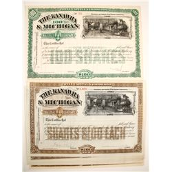 Kanawha & Michigan Railway Company Stock Certificates