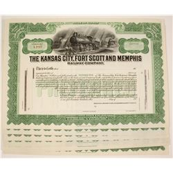 Kansas City, Fort Scott and Memphis Railway Company Stock Certificates