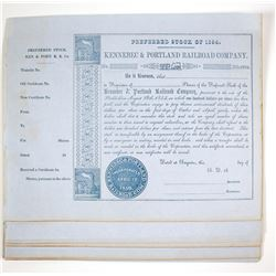 Kennebec & Portland Railroad Company Stock Certificates