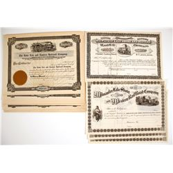 Lake Erie and Eastern Railroad Company & Milwaukee Lake Shore and Western Railway Company Stock Cert