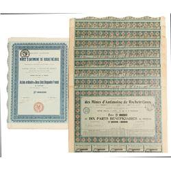 Mines D'amtimoine De  Rochetrejoux Mining Bond Certificates