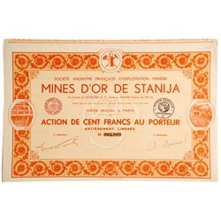 Mines D'or De Stanija Bond Certificate (French company of the Stanija Gold Mines)