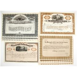 Minneapolis & St. Louis Railroad Company Stock Certificates & One Mississippi Valley Company Stock C