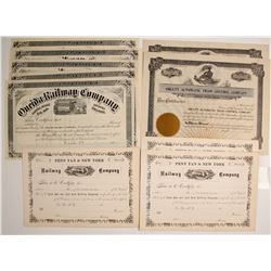 New York and Massachusetts Railroad Companies Stock Certificates