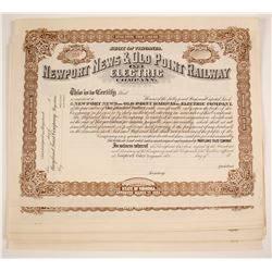Newport News & Old Point Railway and Electric Company Stock Certificates