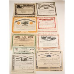 Nine Different Railroad Stock Certificates:  AR, IN, IL, PA, NY, MA