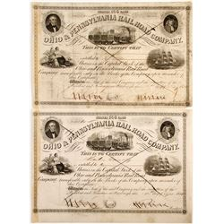 Ohio & Pennsylvania Railroad Company Stock Certificates
