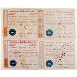 Old Colony and Fall River Railroad Company Stock Certificates  (2 Different)