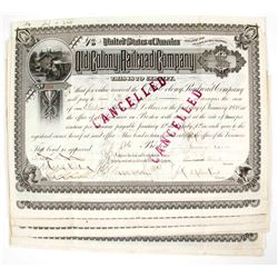 Old Colony Railroad Company Stock Certificates - Massachusetts