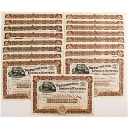 Pittsburgh, Lisbon & Western Railroad Company Stock Certificates