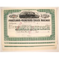 Portland and Rumford Falls (ME) Railway Stock Certificates