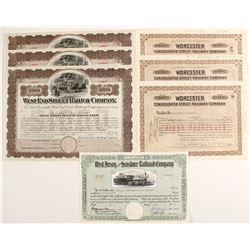 Railroad Stock Certificates from:  MA, NJ, Three Different Varieties