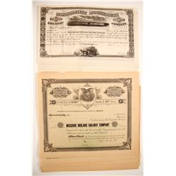 Railroad Stock Certificates:  MO & NY (2 Different)