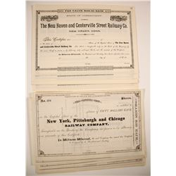 Railroad Stock Certificates:  PA & CT (2 Different)