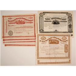 Railroad Stock Certificates: NY, KS, Three Different
