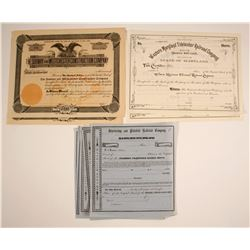 Railrod Stock Certificates: Mass, NY, and MD, Three Different