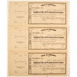 Republican Valley and Wyoming Railroad Company Stock Certificates