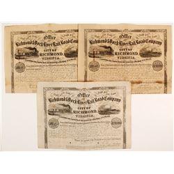 Richmond  & York River Rail Road Company Stock Certificates