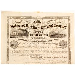 Richmond & York River Railroad Company Bond Certificate